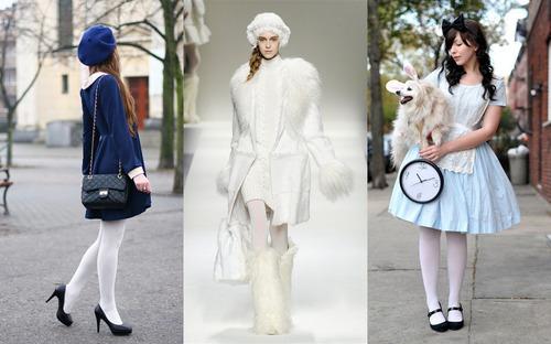 Белые колготки нравятся многим девушкам. . Некоторые отвергают их не потом