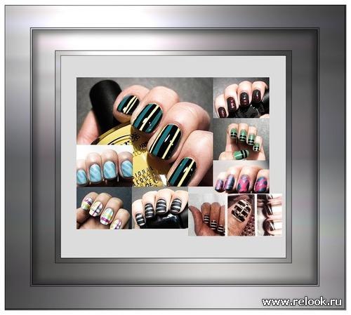 Простые полоски на ногтях с вариациями
