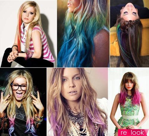 Окрашивание волос с цветными прядями