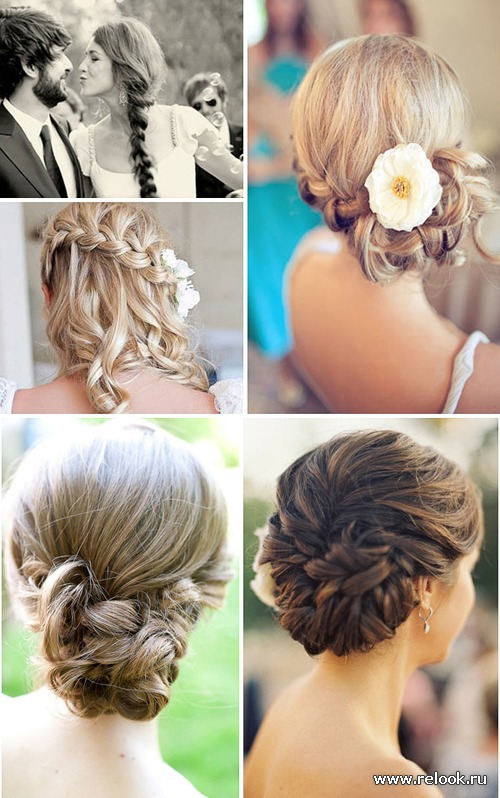 Свадебные прически сезона: косы и пучки
