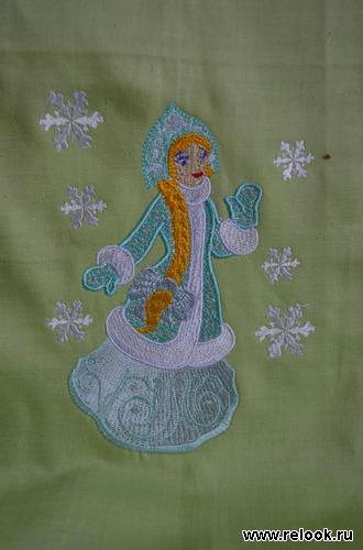 вышивка на новогодних мешочках