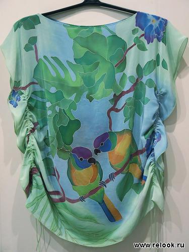 Блузка шелковая, батик