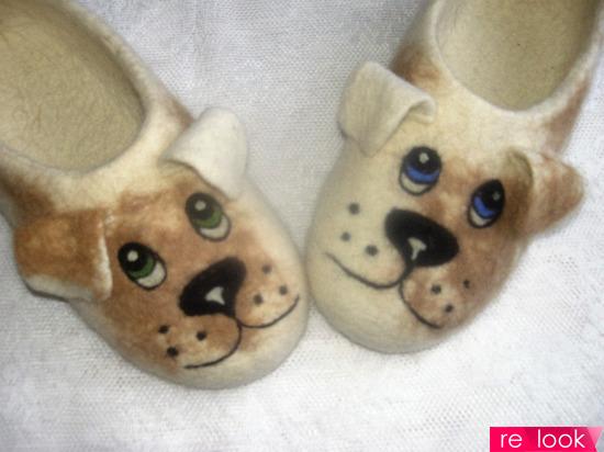 валяные тапочки Собачки